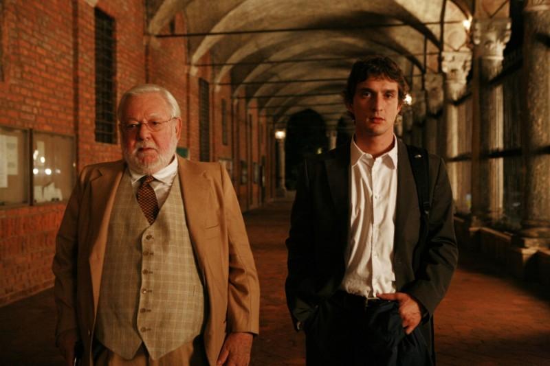 Paolo Villaggio e Alessandro Tiberi sul set del film Generazione 1000 euro