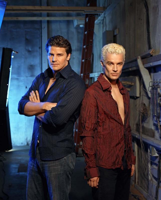 David Boreanaz e James Marsters in una immagine promo della terza stagione di Buffy