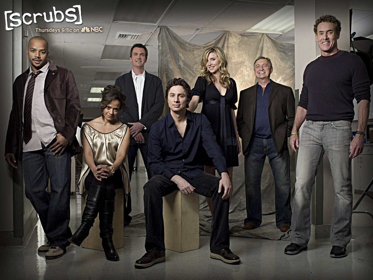 Un wallpaper con il cast di Scrubs