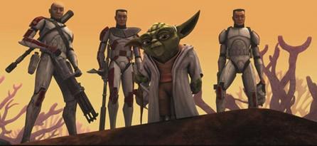 Il Maestro Yoda guida le truppe dei cloni nell'episodio 'Ambush' della serie tv 'Le Guerre dei Cloni'
