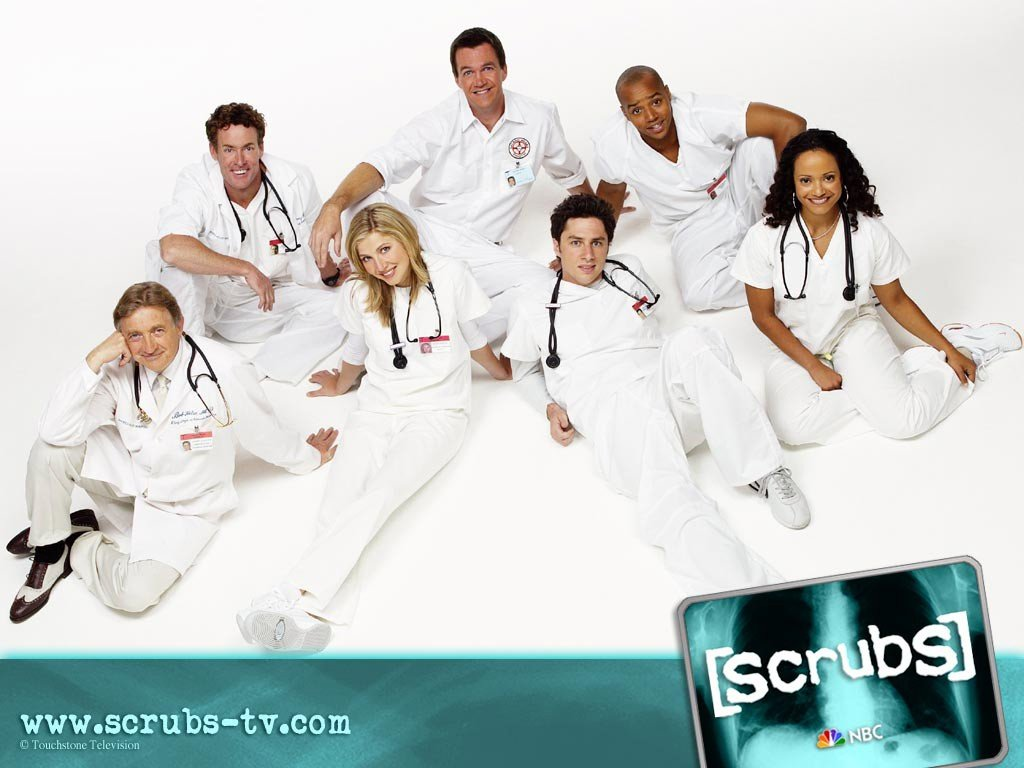 Un wallpaper con il cast del serial Scrubs
