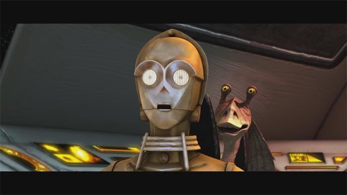 C-3PO e Jar Jar Binks insieme per salvare Padme Amidala nell'episodio 'Bombad Jedi' della serie tv Le guerre dei Cloni