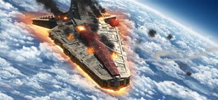 L'astronave dei Cavalieri Jedi è in grave difficoltà nell'episodio 'Jedi Crash' della serie tv Star Wars: Le guerre dei Cloni
