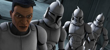 Un drappello di soldati della Repubblica nell'episodio 'Rookies' della serie Star Wars: Le guerre dei Cloni