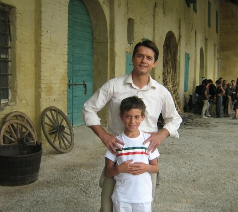 Giovanni Roffia con Ettore Bassi sul set di Mal'Aria