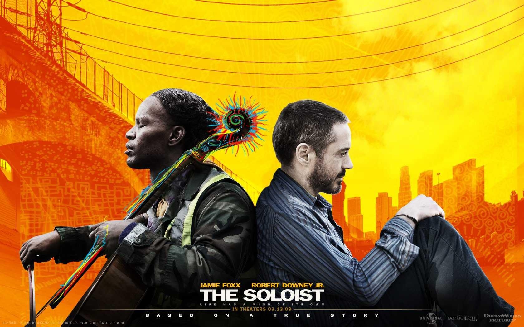 Wallpaper del film The Soloist con Jamie Foxx e Robert Downey Jr.