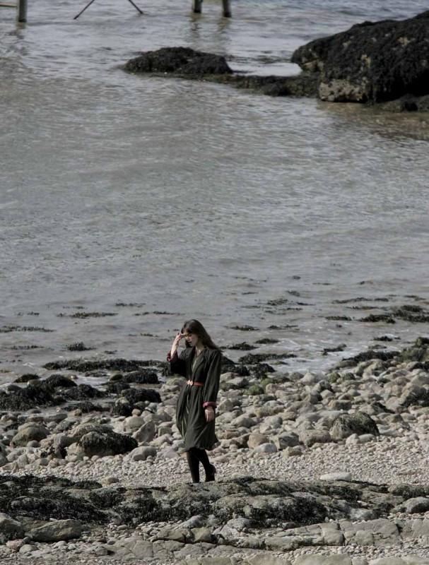 Keira Knightley gira sulla spiaggia di Clevedon gli esterni del drammatico Never Let Me Go