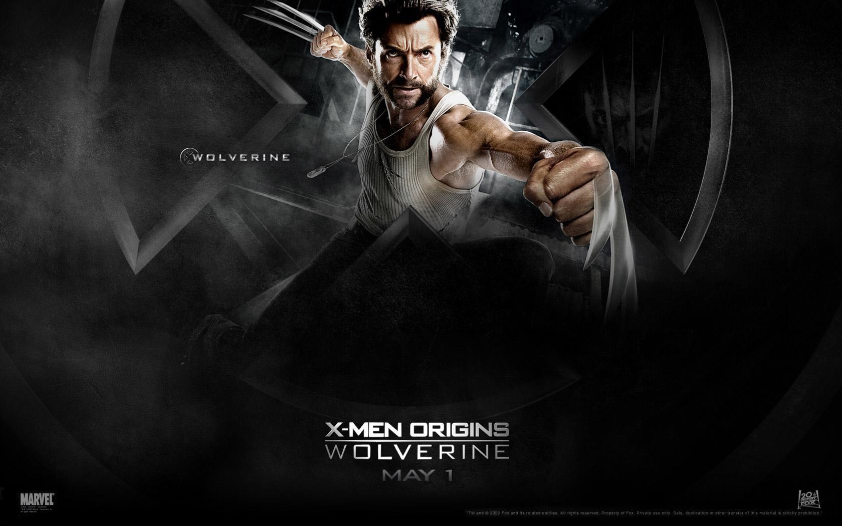 Un wallaper del film X-Men - Le origini: Wolverine con Hugh Jackman, interprete di Wolverine