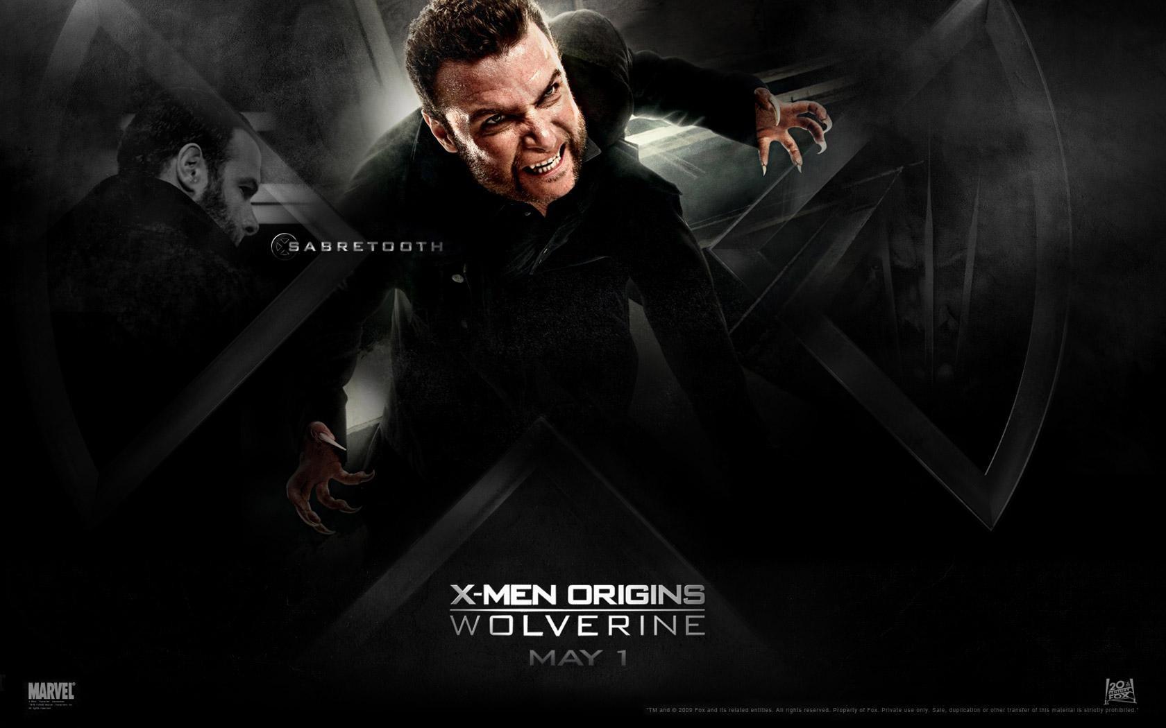 Un wallaper del film X-Men - Le origini: Wolverine con Liev Schreiber, interprete di Sabretooth