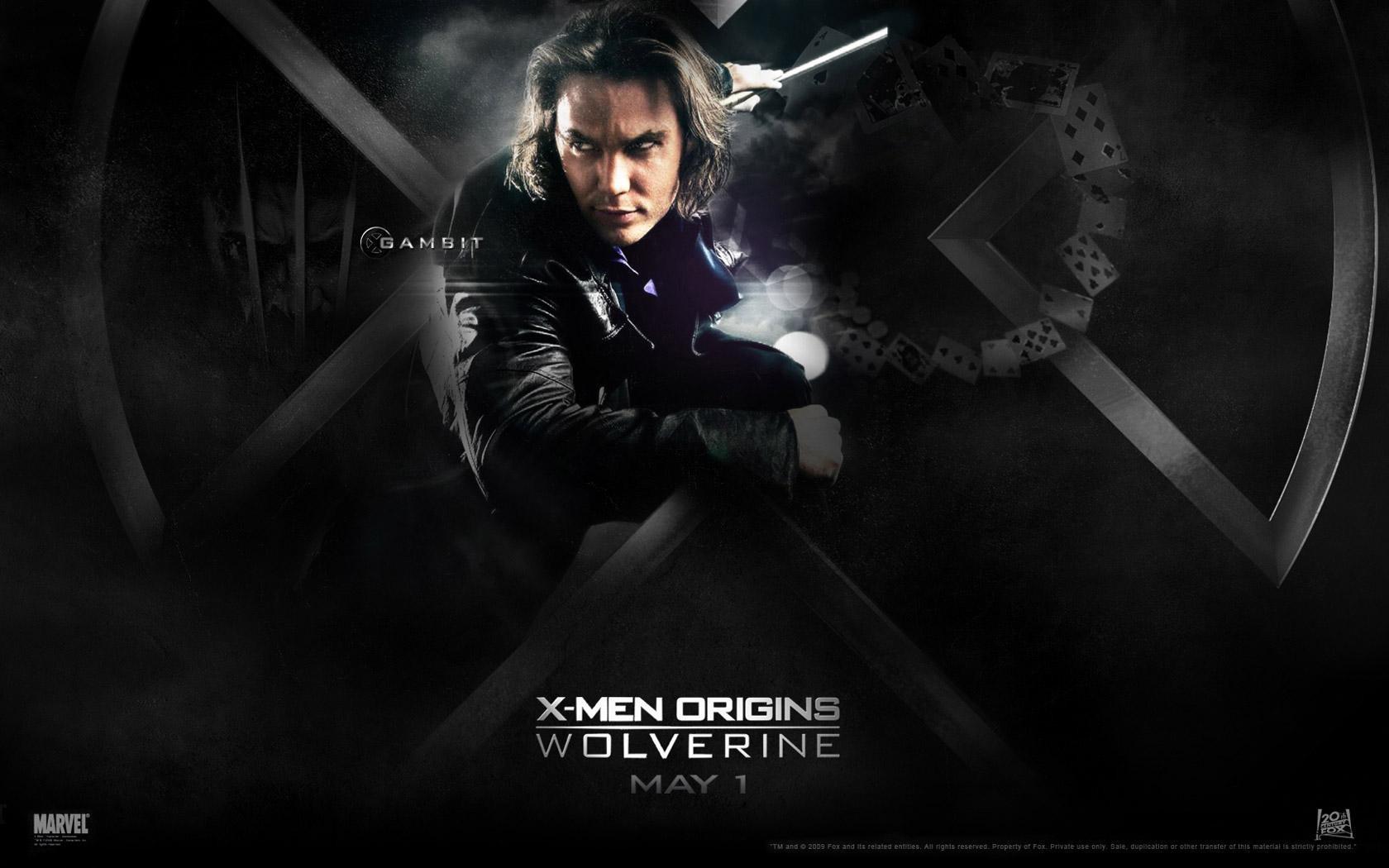 Un wallaper del film X-Men - Le origini: Wolverine con Taylor Kitsch, interprete di Gambit