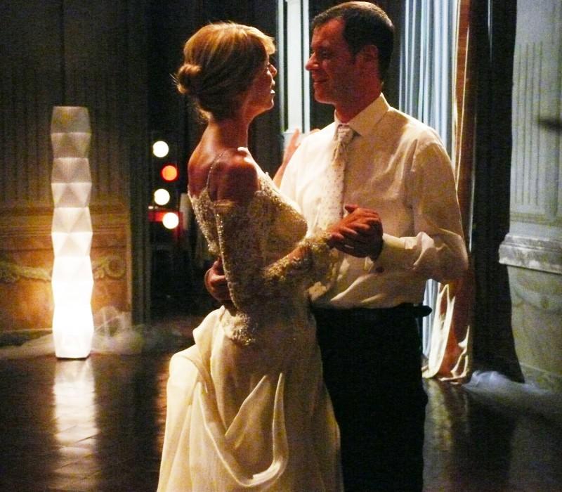 La Marcuzzi con Pietro Sermonti in una scena del film televisivo Un amore di strega