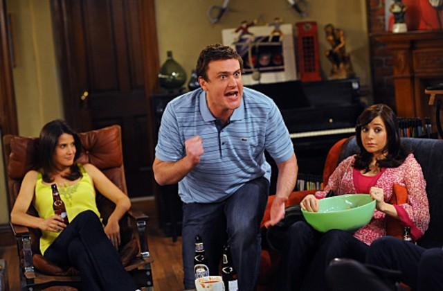 Jason Segel, Alyson Hannigan e Cobie Smulders in una scena dell'episodio The Leap di How I Met Your Mother