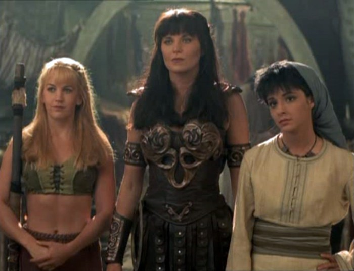 Shiri Appleby, Renée O'Connor e Lucy Lawless nell'episodio 'Xena e la leggenda delle due Muse'
