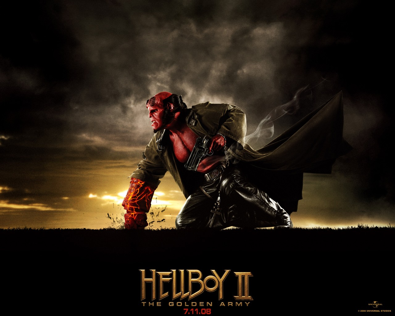 Un wallpaper di Ron Perlman (Hellboy) nel film di 'Hellboy II - The Golden Army'