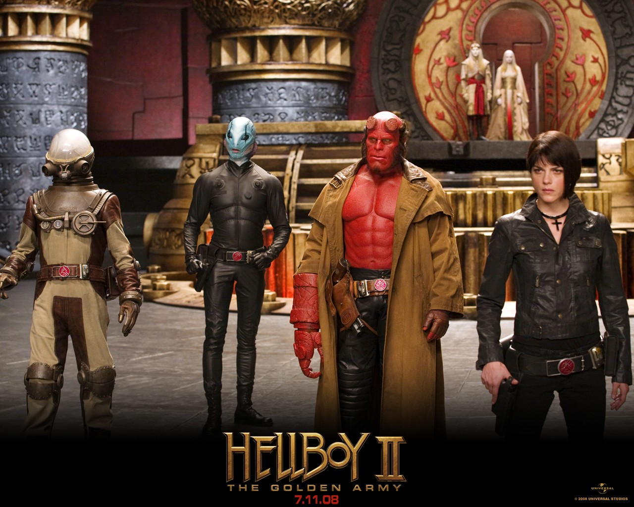 Wallpaper: James Dodd, Doug Jones, Ron Perlman e Selma Blair nel film di 'Hellboy II - The Golden Army'