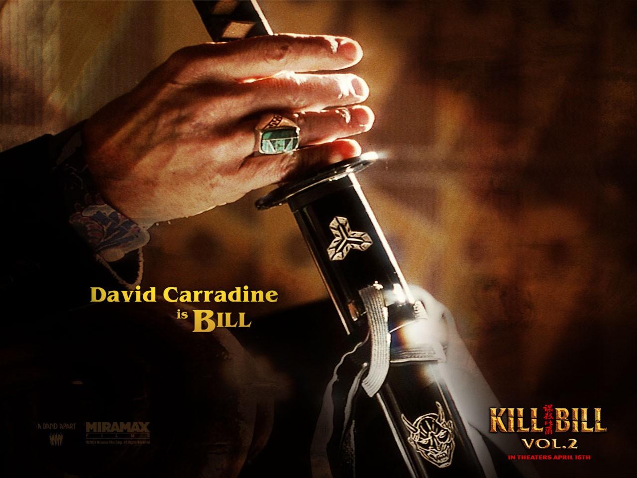 Un wallpaper della mano di Bill che afferra la spada per il film 'Kill Bill: Volume 2'