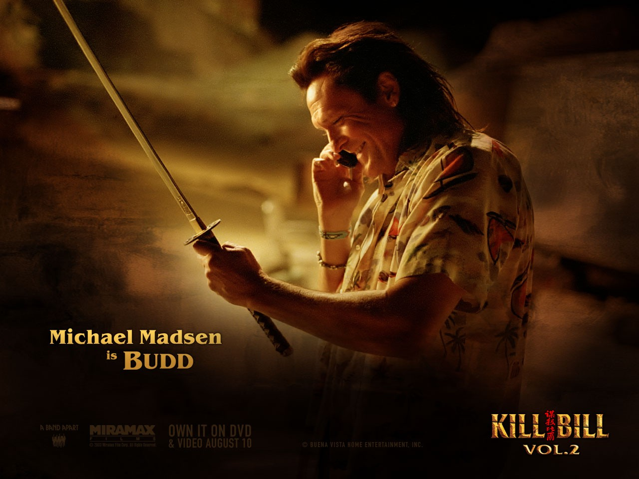 Un wallpaper di Michael Madsen che interpreta Budd nel film 'Kill Bill: Volume 2'