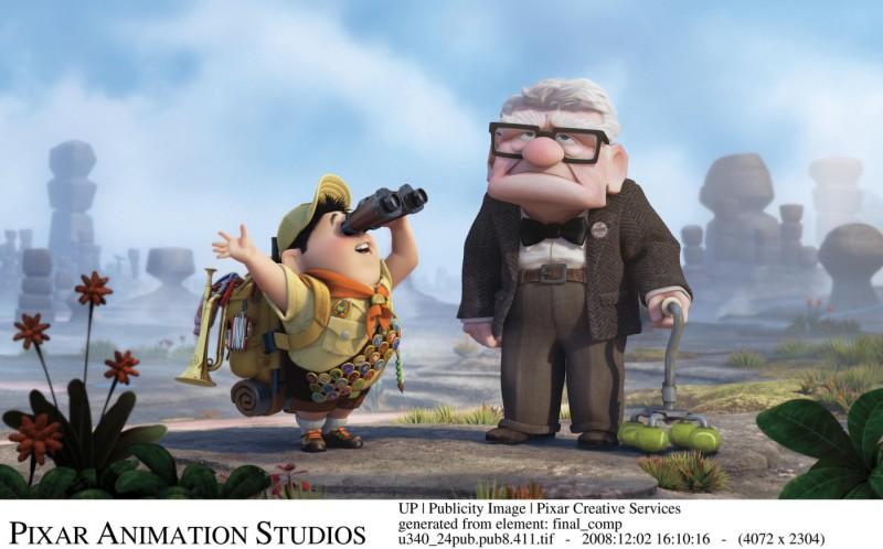 Una divertente immagine di Up (2009) con i protagonisti: l'adorabile vecchietto Carl Fredricksen e il piccolo Russell, un boyscout di otto anni.
