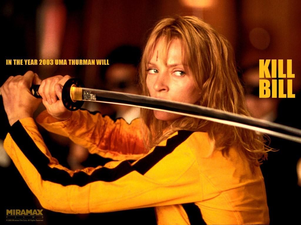 Wallpaper di Uma Thurman che interpreta Black Mamba di 'Kill Bill: volume 1'