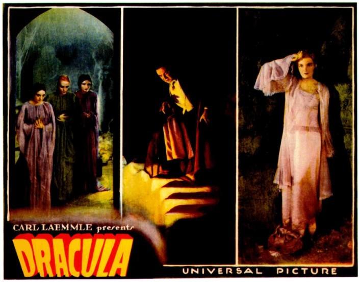 Bela Lugosi, Helen Chandler in una lobbycard a colori di Dracula