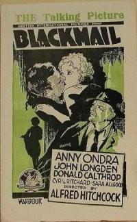 Poster inglese di Ricatto (Blackmail, di Alfred Hitchcock)