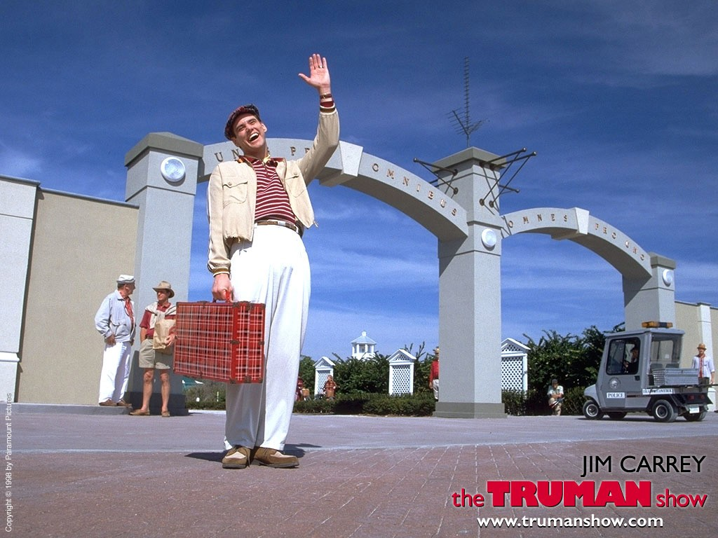 Un wallpaper di Jim Carrey che interpreta Truman Burbank per il 'The Truman Show'