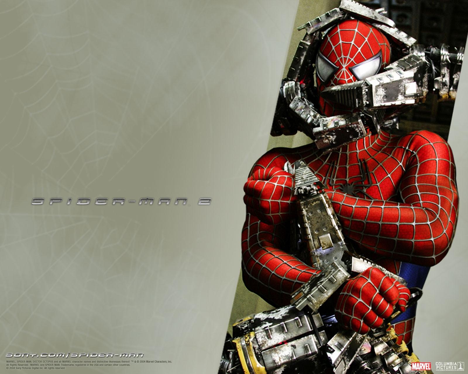 Un wallpaper di Spiderman legato nel film 'Spider-Man 2'