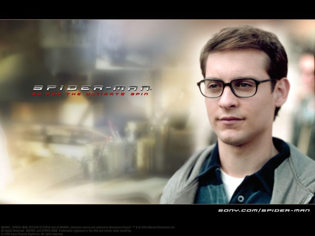 Un wallpaper di Tobey Maguire che interpreta Peter Parker nel film 'Spider-Man'