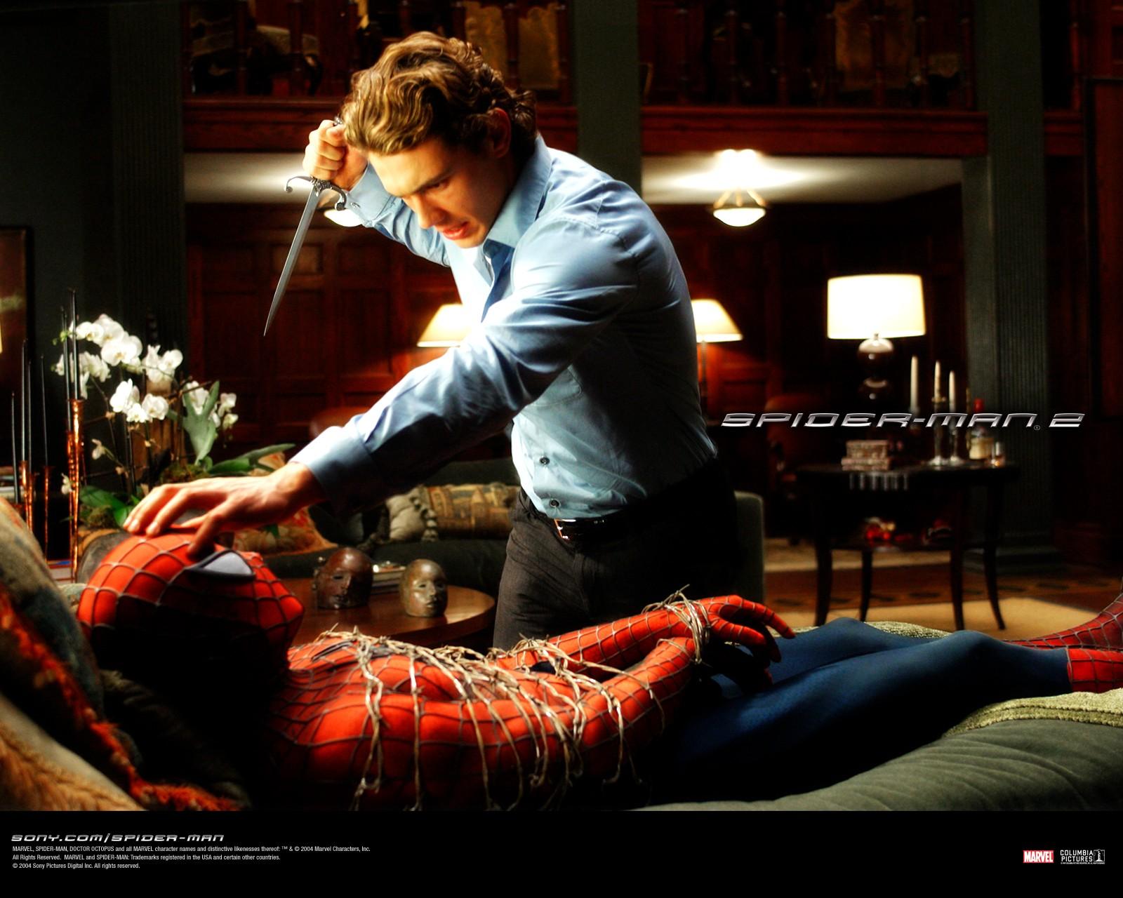 Un wallpaper di una scena del film 'Spider-Man 2'