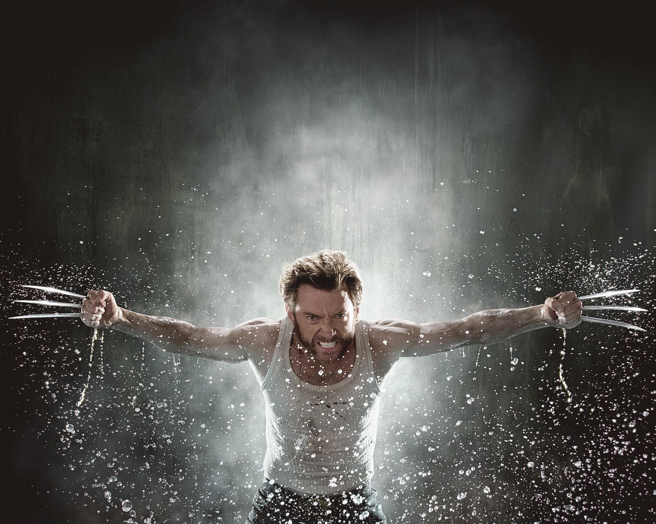 Un wallpaper di Hugh Jackman protagonista del film 'X-Men - Le origini: Wolverine'