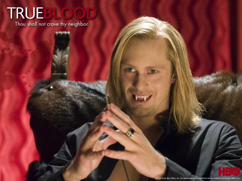 Un wallpaper di Alexander Skarsgård per la serie 'True Blood'