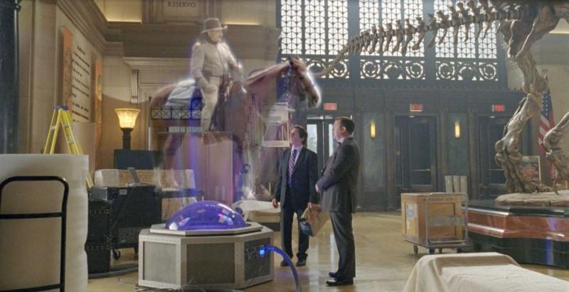 Robin Williams, Ben Stiller e Ricky Gervais in una scena del film Una notte al museo 2: la fuga