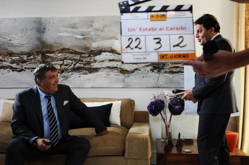 Maurizio Mattioli e Enrico Brignano sul set del film Un'estate ai Caraibi