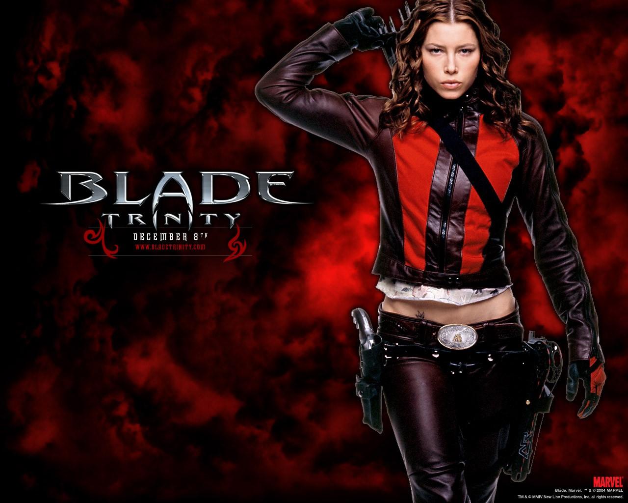 Un wallpaper di Jessica Biel per il film 'Blade: Trinity'