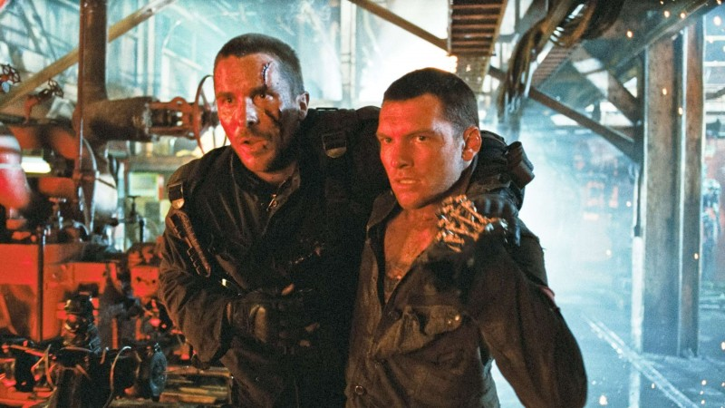 Christian Bale e Sam Worthington in un'immagine di Terminator Salvation