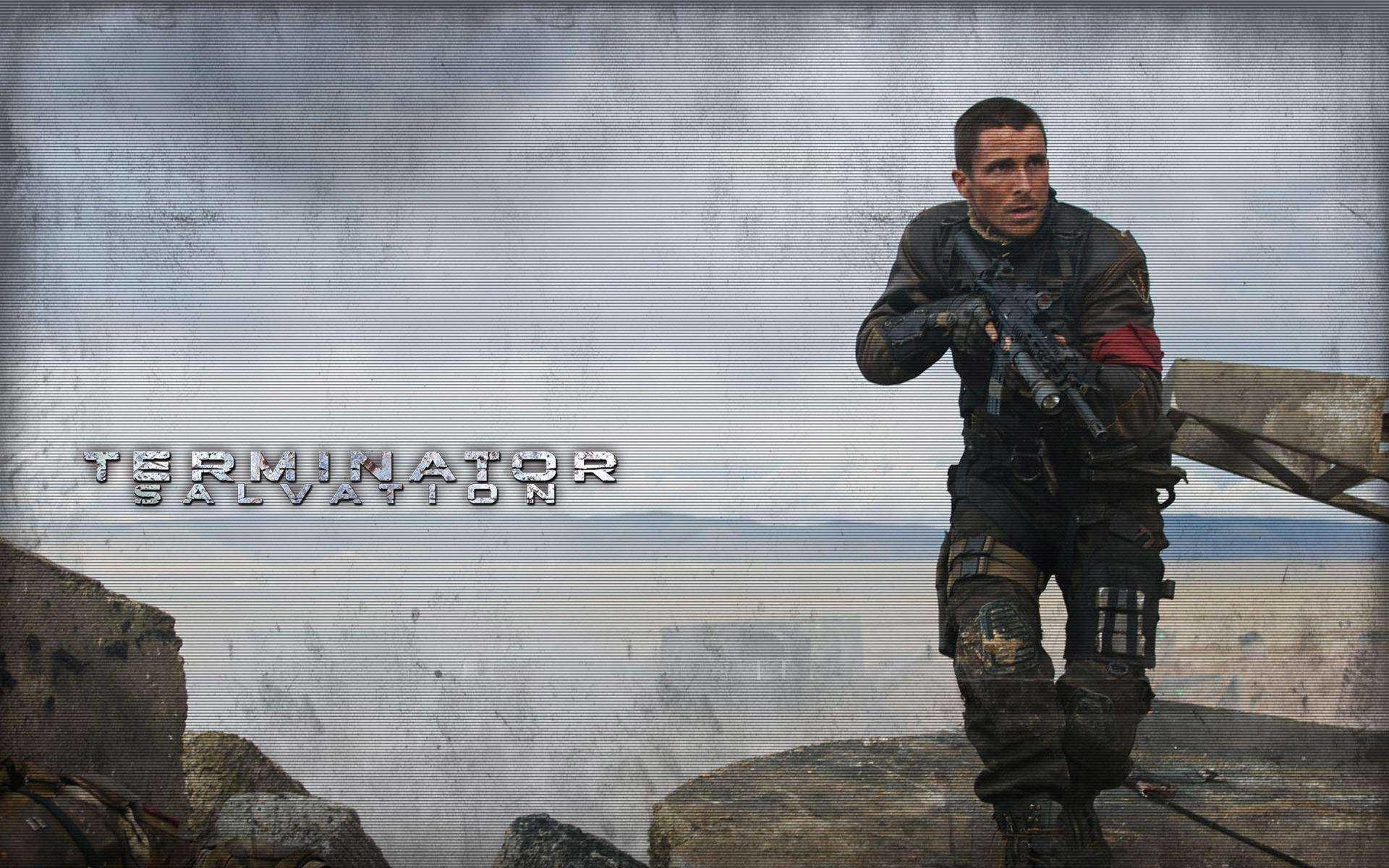 Un wallpaper del film Terminator Salvation con Christian Bale
