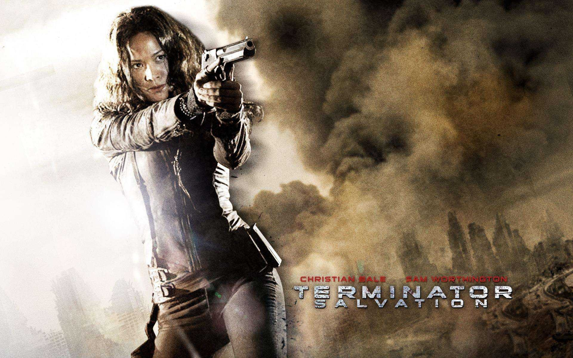 Un wallpaper del film Terminator Salvation con Moon Bloodgood