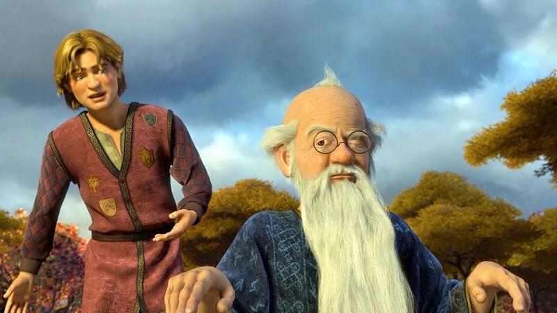 Artie parla con Merlino in una scena del film Shrek Terzo
