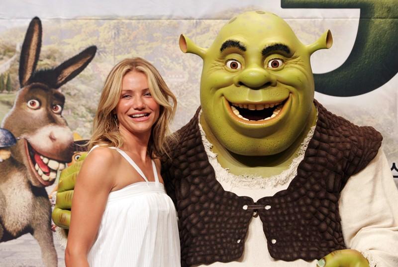 Cameron Diaz e Shrek per la promozione del film 'Shrek the Third'