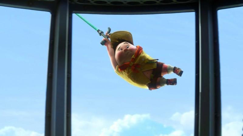 Il piccolo Russell in una scena del film Up