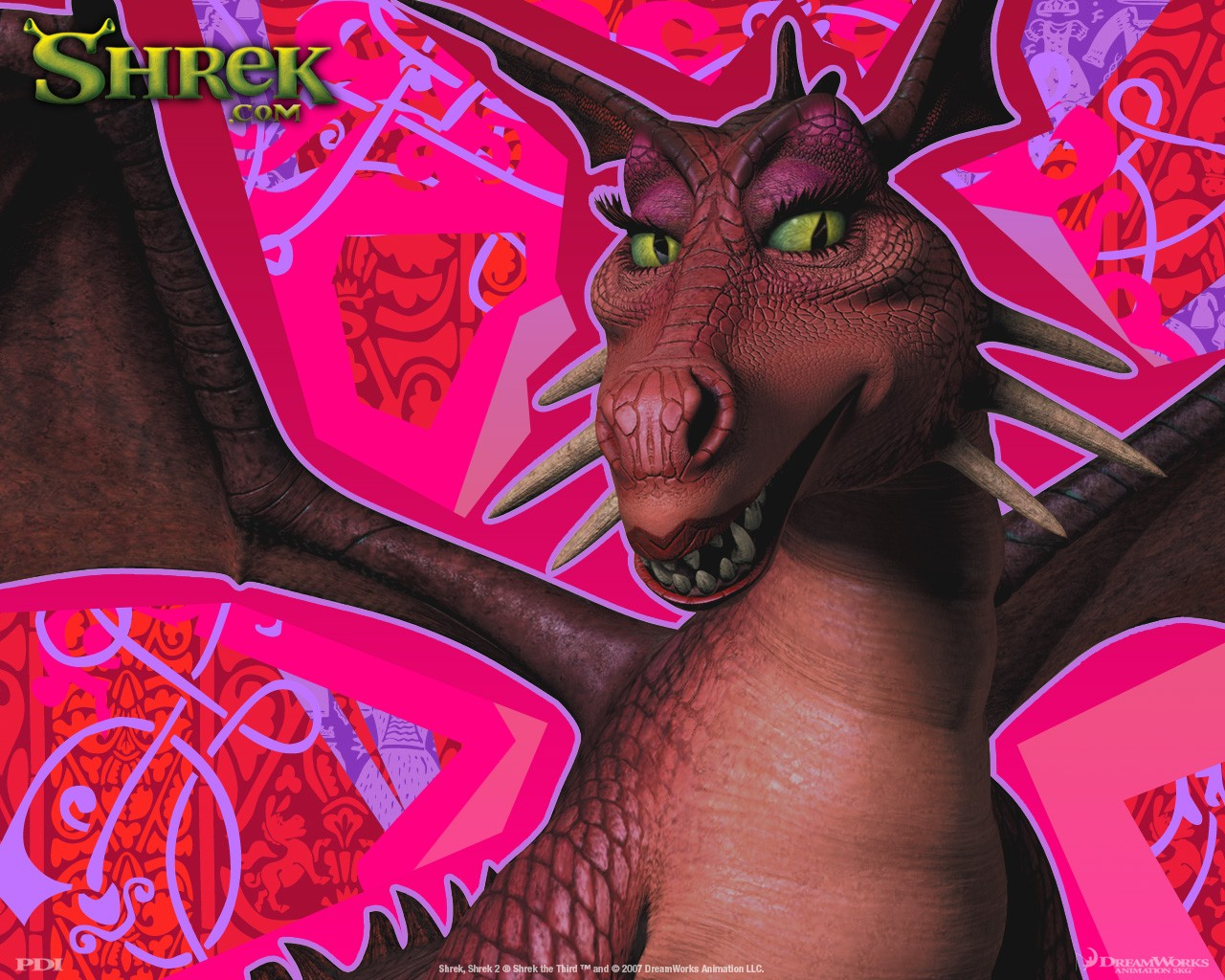 Un wallpaper del Dragone femmina(Dragon) per il film 'Shrek Terzo'