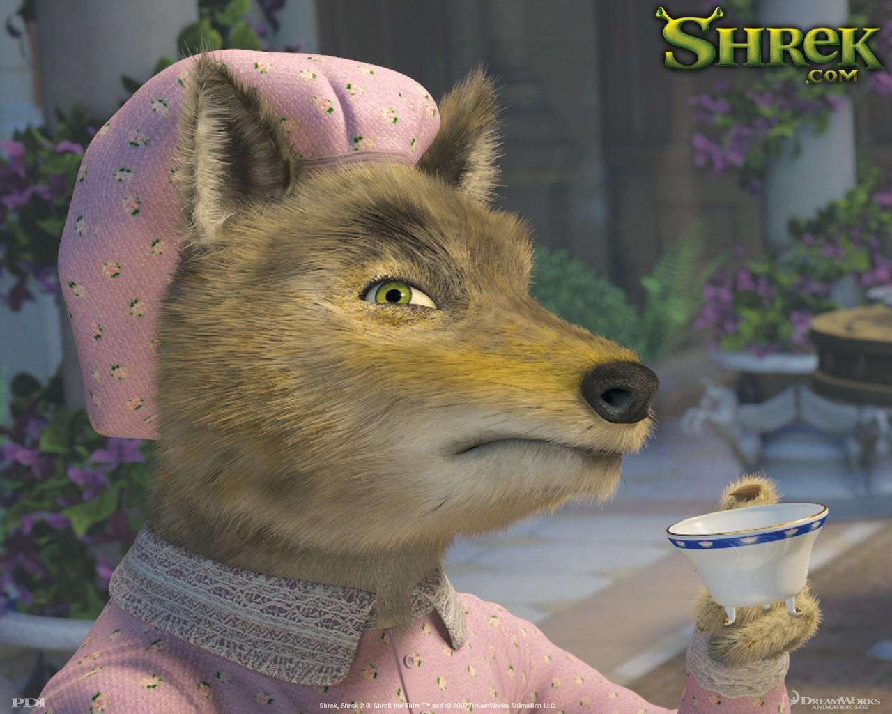 Un wallpaper del Lupo cattivo(Big bad wolf) per il film 'Shrek Terzo'