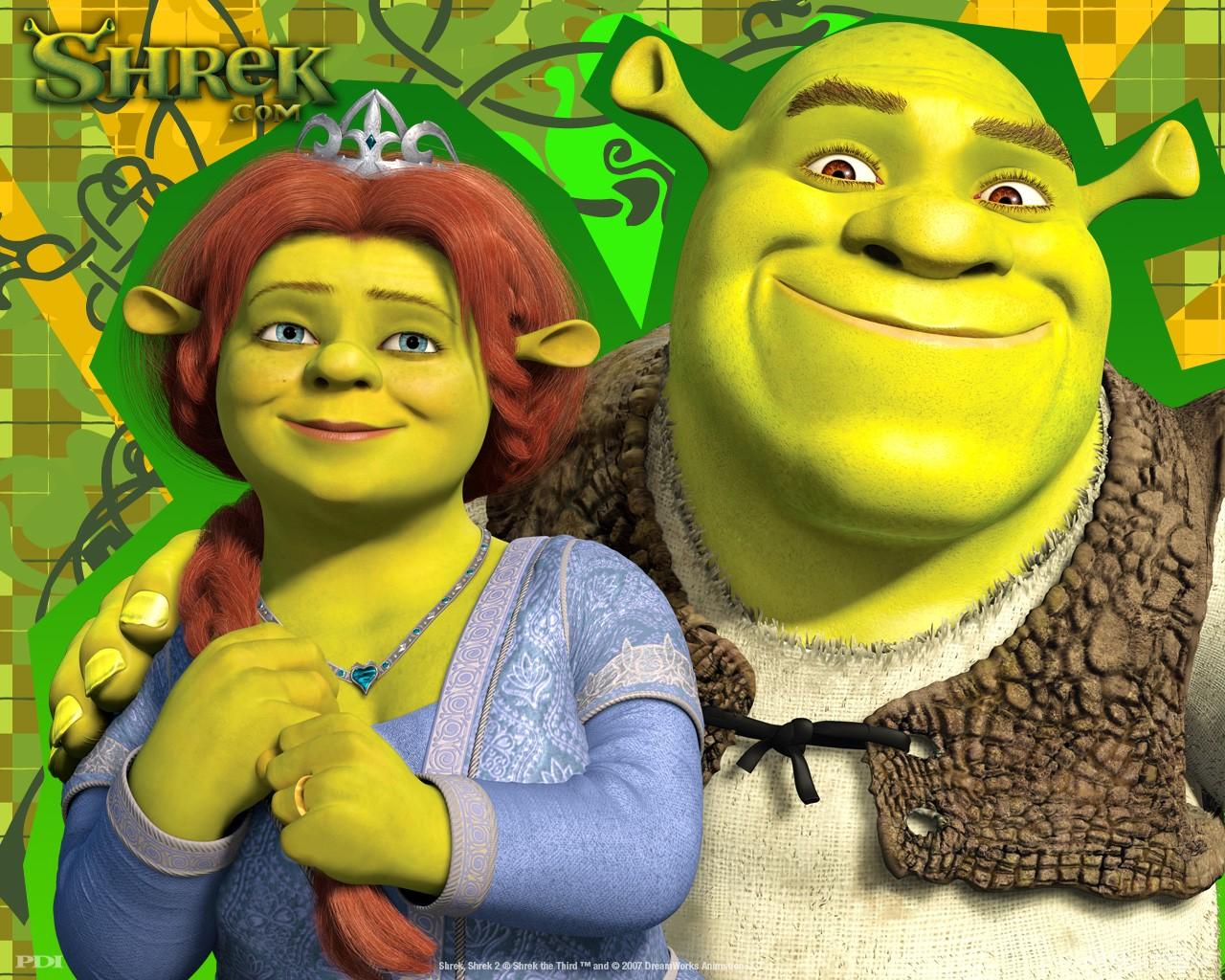 Un wallpaper di Fiona e Shrek per il film 'Shrek Terzo'