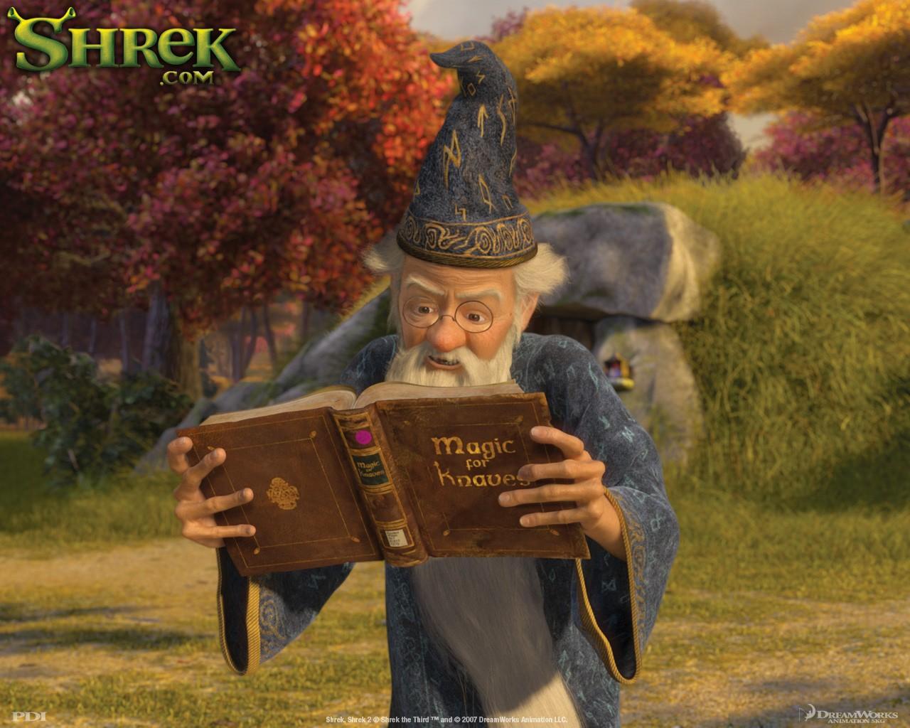 Un wallpaper di Merlino per il film 'Shrek Terzo'