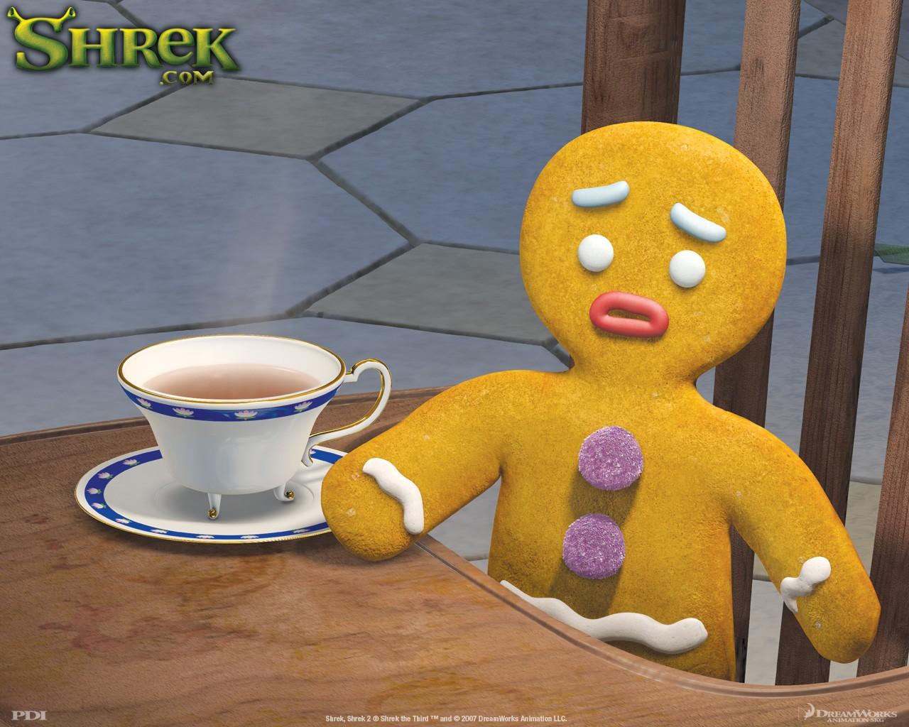 Un wallpaper di Pan di Zenzero(Gingy) per il film 'Shrek Terzo'