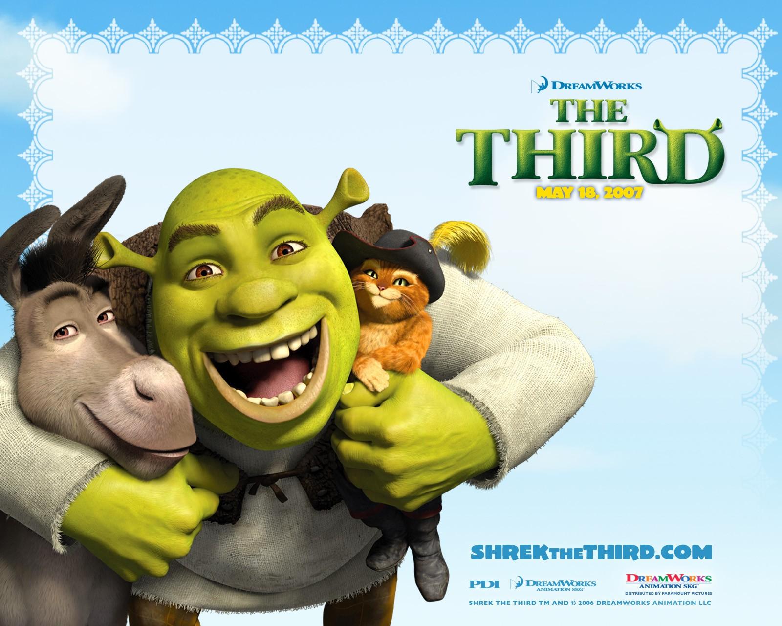 Un wallpaper di Shrek, Ciuchino e del Gatto con gli stivali per il film 'Shrek Terzo'