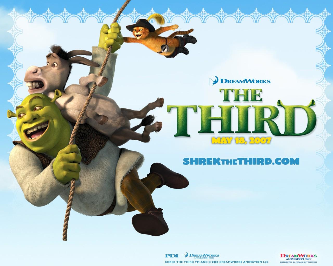 Un wallpaper di Shrek, Ciuchino e del Gatto con gli stivali per il film 'Shrek the Third'