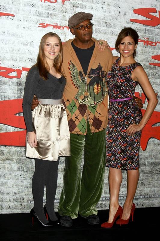 S. Johansson, Samuel L. Jackson e Eva Mendes alla premiere del film 'The Spirit' in Germania
