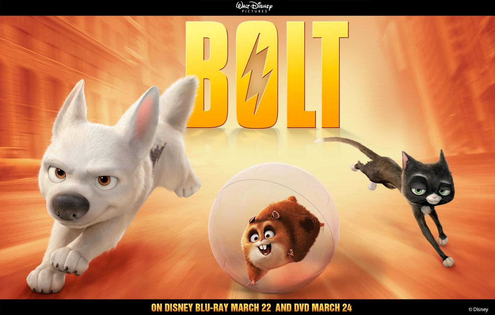 Un wallpaper del trio di protagonisti per pubblicizzare l'uscita in dvd e blu-ray del film 'Bolt'