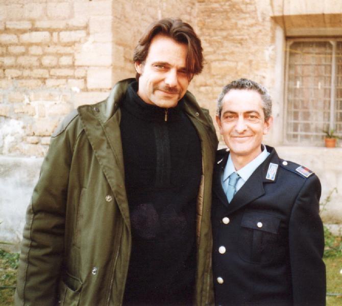 Alessandro Preziosi con Nicola Natalia sul set de Il Capitano 2